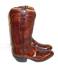 Men's Lucchese Western Boots Size 7 1/2D Brown Leather Cowboy Vintage Seville