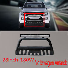 Volkswagen Amarok Nudge Bar Black Grille Guard 10-14+180w Cree LED Light +Wiring