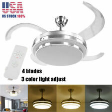 """42"""" Retractable Chandelier Led Ceiling Fan Lamp Light + Remote Control Dimmable"""