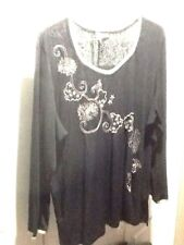 Avenue Size 26 28 4X 5X 54x30 Stretchy Black Silver Embroidery Pullover Top