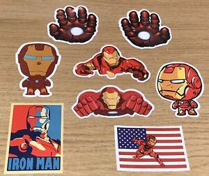 Ironman Stickers X8 Vinyl Kids Cartoon Retro Logo Superhero