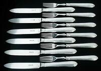 12 Antique Silver Dessert Knives & Forks, CRESTED, 1867, Martin, Hall & Co