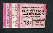 Original 1983 Eric Clapton Concert Ticket Stub St. Louis Money and Cigarettes