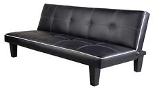 Sofabed 180 cm Black Faux Leather White Piping Sofa Bed Guest Spare Room Futon