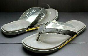 UGG Bennison II Leather Men's Flip Flops Thongs Metal Grey Size 9 US