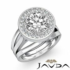 Round Diamond Halo Pre-Set Engagement Ring GIA F Color VS2 18k White Gold 1.9ct