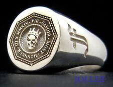 SIGNET RING VIE SAVOIR MORT HONNEUR & CROWN SKULL STERLING SILVER 925 BY JOLLER