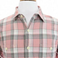 J Crew Mens Flannel Button Down Front Shirt Long Sleeve Tartan Plaid Pink Sz M