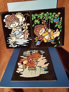 3 Vintage Paint by Number on Velvet Kids Room Finished b26