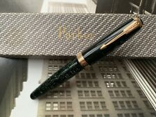 More details for vintage 1930s art deco parker vacumatic green maxima single jewel fountain pen