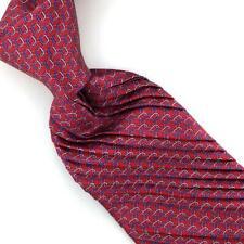 Vitaliano Pancaldi Tie Pleated Red Blue Interlink-Rings Luxe Necktie Silk L5 New