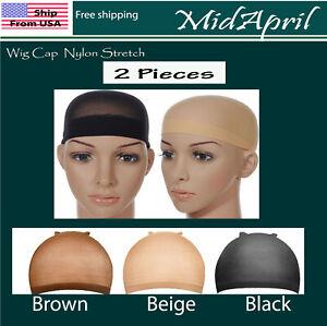 2 PCS Wig Cap Liner  Stocking Cap  Nylon Stretch Black brown Beige