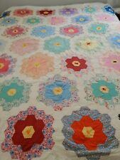 Antique quilt top Grandmother's Flower Garden Quilt top with batting