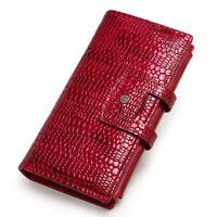 Women Genuine Leather Long Wallet Trifold Lady Money Card Holder Purse Handbag