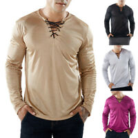 Fashion Mens Slim Fit V-Neck Long Sleeve Muscle Tee T-shirt Casual Tops Blouse
