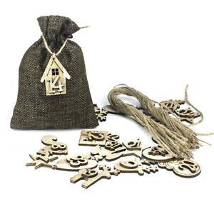 24Set Christmas Advent Calendar Bags 24-Days Embellishments Wooden Listing Label