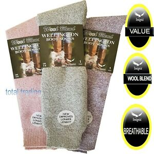 ladies mens  wellington boot socks wellie welly  CUSHIONED MADE WITH WOOL
