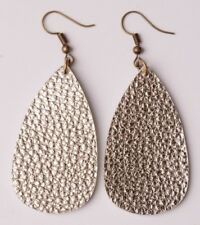 Gold Colored  Leather Textured Teardrop Earrings Drop Dangle Hook