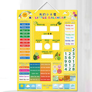 Kids Calendar Magnetic Board Educational Toy Month Season Learning Tool Home