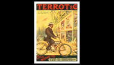 Classic Bicycling Terrot and Co. Vintage c.1906 Motorized Cycling POSTER Reprint