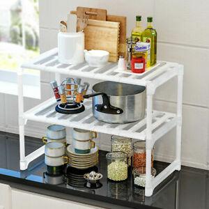 Adjustable Kitchen Rack Under Sink Organiser Multi Purpose Storage Tidy Shelf