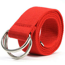 Fashion Ladies Womens Wide Waist Belt Canvas Metal Waistband Double Ring Buckle