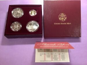 1996 US Olympic Coins of the Atlanta Games 4 Coin Proof Set w/gold coin b42.b