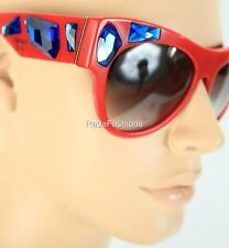 a31ba71698 PRADA Voice Red Blue Crystal Stone Cat Eye Sunglasses Authentic