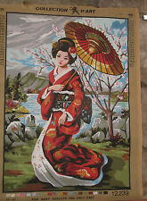 Vtg Japanese GEISHA GIRL w/ KIMONO in CHERRY BLOSSOM NEEDLEPOINT Penelope Canvas