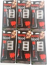 Lot 6 Vampire Blood w/ Bonus Blood Capsules Halloween & Stage Costume Accessory
