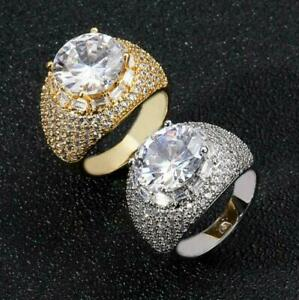 Iced Flooded Out Zirconia Ring, Copper Hip Hop Men's Pinkie Jewelry A9264