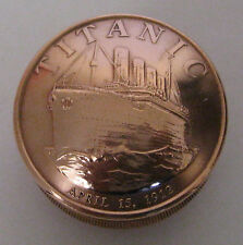 RMS TITANIC Copper Commemorative Coin Screw Lid Snuff Box / Pill Box / Keepsake