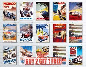 A3 Vintage Monaco Grand Prix Classic Motor Racing Retro High Quality Posters