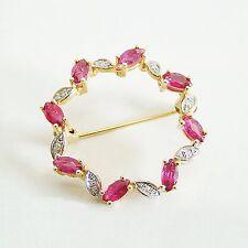 Brosche Gold 585er Rubine 0,05 ct. Diamanten Goldbrosche14 kt. Anstecknadel