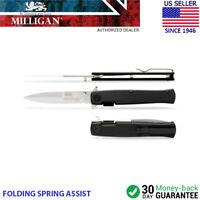 """Milligan SFSG-55 Spring Assisted Straight Blade 3.5"""" Belt Clip Knife (Black)"""