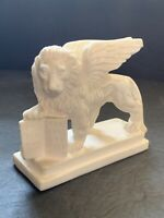 Lion Of St. Mark Judah's Winged Lion Holding Bible Figurine By G. Ruggeri Italy