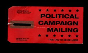 1977 PS TAG 57 - Postal Service Post Office POLITICAL CAMPAIGN MAILING Sort tag