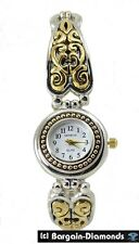 ladies 2 tone retro steam punk fashion dress watch petite MOP dial bracelet teen