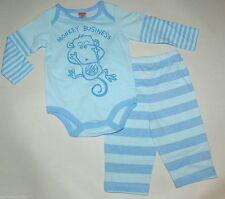 Monkey Business Blue Stripe Fisher Price Boys Snap Tee & Pants 0-3 Mo Toddler