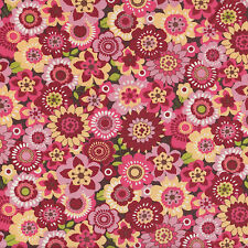 Spintastic Pink Burgundy Yellow Funky Flowers Floral Quilt Fabric FQ/Metre NEW