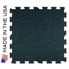 Gym Flooring Rubber Tiles - 9 PACK -Black w/ Blue Flecks - MADE IN USA