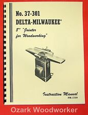 "DELTA-MILWAUKEE 8"" Jointer 37-301 Operator's & Parts Manual 0242"