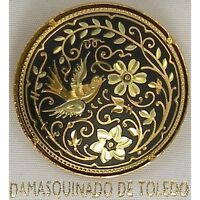 Damascene Gold Dove of Peace Design Round Brooch by Midas of Toledo Spain