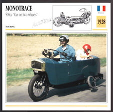 1928 Monotrace 500cc Car on Two Wheels France Motorcycle Photo Spec Sheet Card