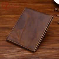 Men Crazy Horse Leather Tan Classic Slim Money Clip Trifold ID Window Wallet