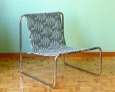 fauteuil chauffeuse Moderniste tubulaire métal et tissu art-déco vintage seat