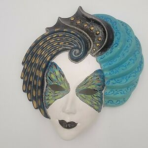 Vintage Venetian Ceramic Wall Mask Blue/Green Clorinda, Signed And Dated
