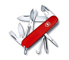 Victorinox SUPER TINKER Red Swiss Army Knife W/ Leather Clip Pouch - SWITZERLAND