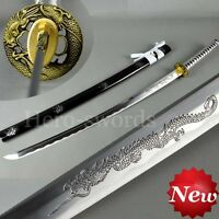 Japanese DRAGON Samurai KATANA Sword FULL TANG Sharp Blade 1060 Carbon Steel