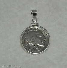 Coin Pendant Vintage Indian Head Nickel Sterling Silver Bezel Soldered Bail New